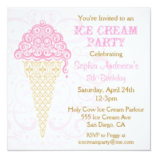 Ice Cream Cone Party Invitation