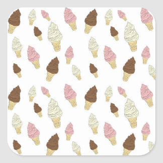 Ice Cream Cone Pattern Square Sticker