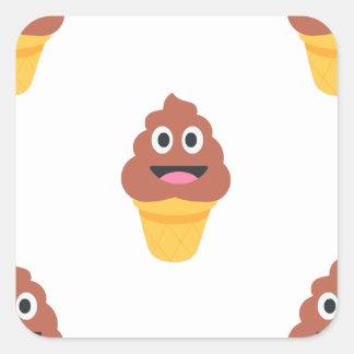 ice cream cone poo emoji square sticker