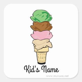 Ice Cream Cone Square Sticker
