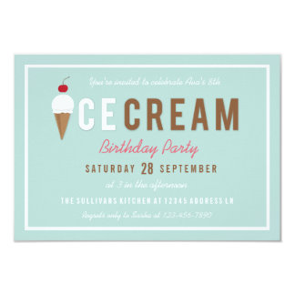 Ice Cream Cone Summer Birthday Party Card