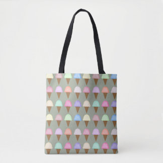 Ice Cream Cone Tote Bag Bright Colorful Pattern