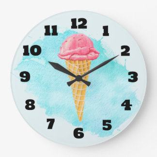 Ice Cream Cone With A Blue Paint Splatter Wallclocks
