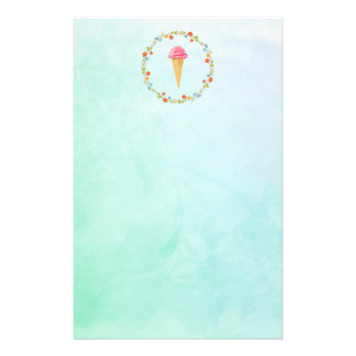 Ice Cream Cone With a Floral Wreath Stationery Design