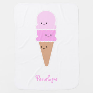 Ice Cream Cone with Cute Faces | Personalized Baby Blanket