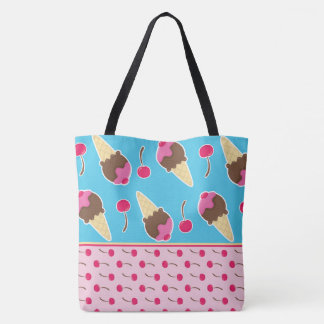 Ice Cream Cones and Cherries Tote Bag