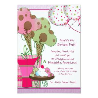 Ice Cream Cones Balloons Girls 4th Birthday Card