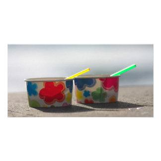 Ice cream cups custom photo card