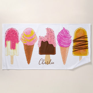 Ice Cream custom name beach towel