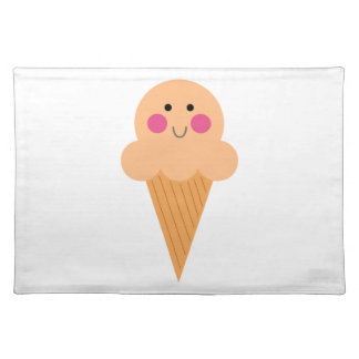Ice cream design on white placemat