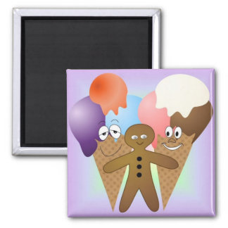 """Ice Cream"" Fridge Magnet SQUARE"
