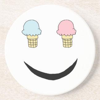 Ice Cream Happy Face Beverage Coasters