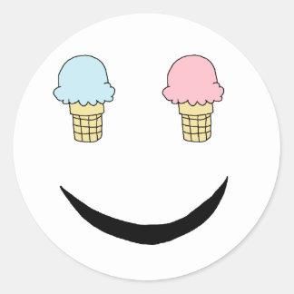 Ice Cream Happy Face Round Sticker