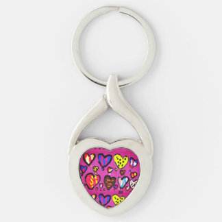 ice cream heart Silver-Colored twisted heart key ring