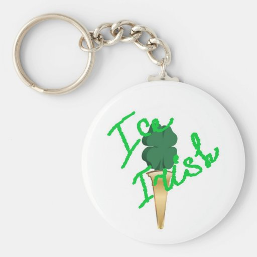 Ice cream horn filled with symbol of Ireland Keychain