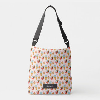 Ice Cream Illustration Pattern with Name Crossbody Bag
