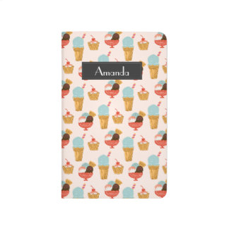 Ice Cream Illustration Pattern with Name Journal