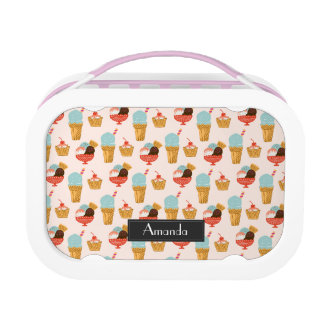 Ice Cream Illustration Pattern with Name Lunchbox