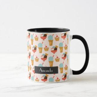 Ice Cream Illustration Pattern with Name Mug