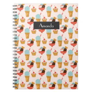 Ice Cream Illustration Pattern with Name Notebook