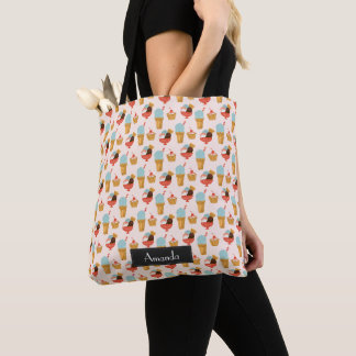 Ice Cream Illustration Pattern with Name Tote Bag