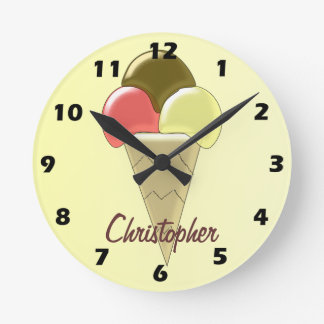 Ice Cream Just Add Name Wall Clocks