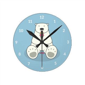 Ice Cream Lover Polar Bear Wall Clock