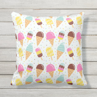 Ice Cream Outdoor Throw Pillow