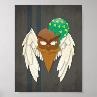 Ice Cream Owl Poster