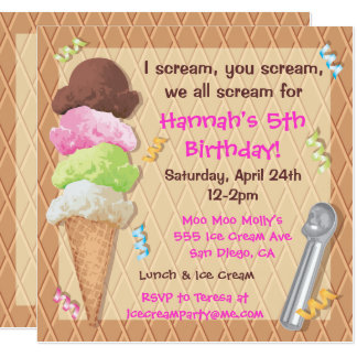 Ice Cream Party Invitation Celebration