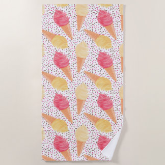 Ice Cream Pattern beach towel
