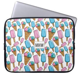 Ice Cream Pattern custom monogram laptop sleeves