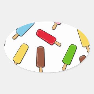 Ice cream pattern oval sticker