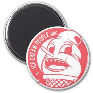 """Ice Cream People """"retro logo"""" 6 Cm Round Magnet"""