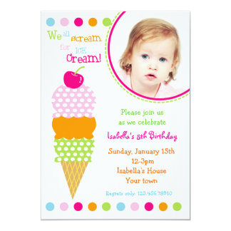 Ice Cream Photo Birthday Party Invitations