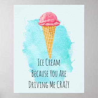 Ice Cream Pun Funny Joke Humor Poster