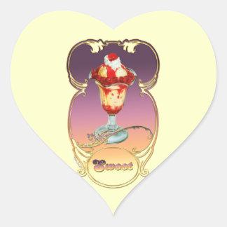 Ice Cream Raspberry Sundae Sweet Heart Stickers