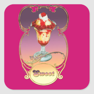 Ice Cream Raspberry Sundae Sweet Square Sticker