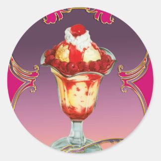 Ice Cream Raspberry Sundae Sweet Stickers