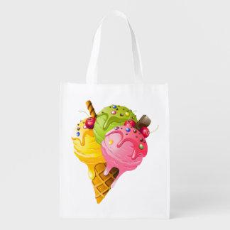 Ice Cream Reusable Grocery - Gift - Treat Bag Reusable Grocery Bag