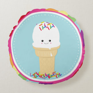 Ice Cream Round Pillow Rainbow Sprinkles Colourful