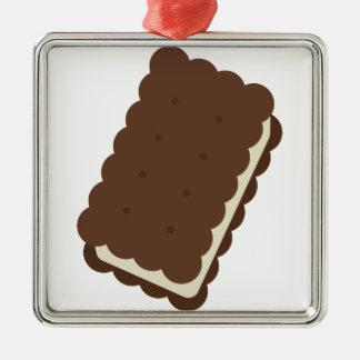 Ice Cream Sandwich Silver-Colored Square Decoration