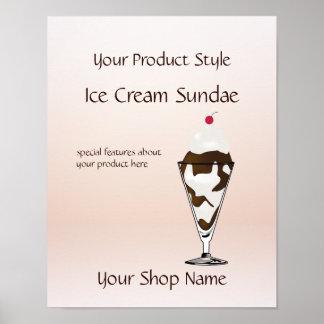 Ice Cream Shop Ice Cream Sundae Product Sign Poster