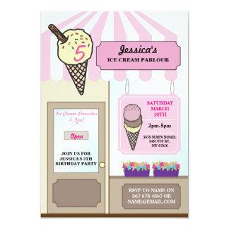 Ice Cream Shop Parlour Birthday Party Invite
