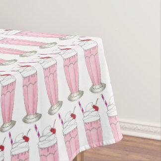 Ice Cream Shoppe Pink Milkshake Soda Fountain Food Tablecloth
