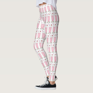 Ice Cream Shoppe Strawberry Pink Milkshake Foodie Leggings