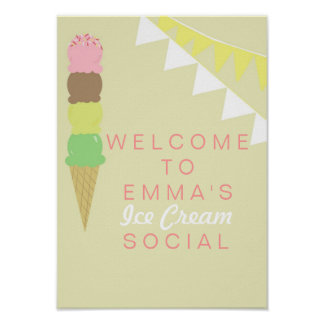 Ice Cream Social Party Poster