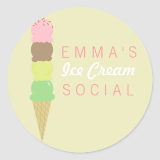 Ice Cream Social Party Stickers