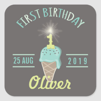Ice Cream Sparkler 1st Birthday Party Gift Tag Square Sticker