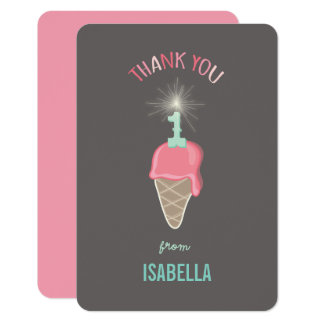 Ice Cream Sparkler Girl 1st Birthday Thank You Card
